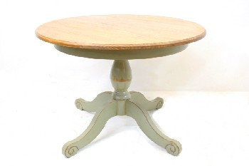 Table, Dining, ROUND LIGHT WOOD TOP W/LIGHT GREEN BASE & 4 LEGS W/CURLED ENDS, WOOD, GREEN