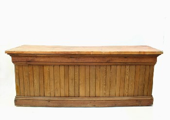 Counter, Misc, BAR,FLARED WOOD TOP,SLAT FRONT,SHELVES BEHIND,DISTRESSED, ROLLING, WOOD, BROWN