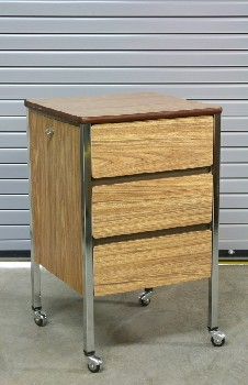 Table, Bedside, HOSPITAL BEDSIDE,3 DRAWERS,LAMINATE, ROLLING, WOOD, BROWN