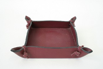 Desktop, Paper Clip Holder, SQUARE W/TIED PINCHED CORNERS, LEATHER, BURGUNDY