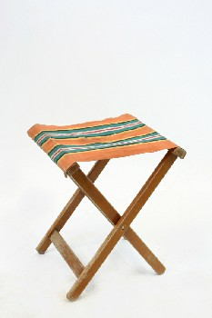 Stool, Folding, STRIPED CANVAS SEAT, CAMPING/OUTDOOR,AGED - Not Identical To Photo , WOOD, BROWN
