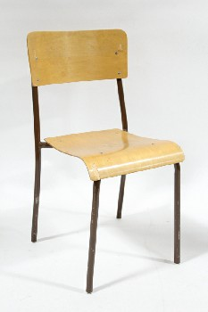 Chair, Stackable, VINTAGE,BENT PLYWOOD SEAT & BACK,BROWN TUBULAR METAL FRAME, CHURCH/SCHOOL, WOOD, BROWN