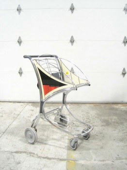 Airport, Misc, AIRPORT PASSENGER LUGGAGE CART/BAGGAGE TROLLEY W/CHILD SEAT, METAL, SILVER