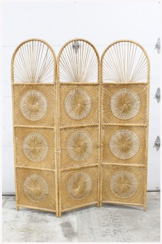 "Screen, 3 Panel, ROOM DIVIDER, EACH PANEL IS 72x20x1,"" ROUNDED TOPS, STARBURST DESIGNS, WOVEN W/WRAPPED FRAME, VINTAGE BOHO CHIC, RATTAN, BROWN"