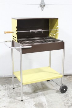 Yard, Miscellaneous, VINTAGE 1960s BBQ/BARBEQUE GRILL WITH ROTISSERIE, BROWN & YELLOW, 2 WHEELS, METAL, BROWN
