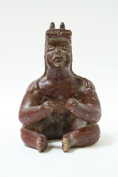 Decorative, Figurine, MAN,SEATED INCAN W/HEADWEAR, POTTERY, BURGUNDY