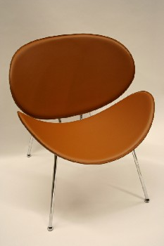 Chair, Side, CURVED OVAL SEAT/BACK W/CHROME FRAME, LEATHER, BROWN