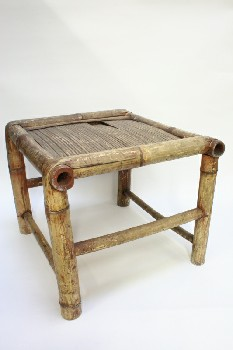 Stool, Square, SEAT MADE OF THIN STRIPS,AGED, BAMBOO, NATURAL