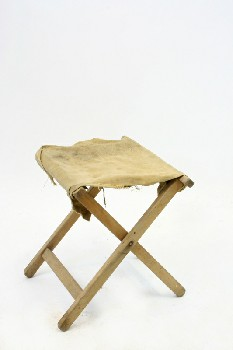 Stool, Folding, CANVAS SEAT, CAMPING/OUTDOOR,AGED , WOOD, BROWN