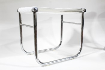 Stool, Misc, CASSINA LE CORBUSIER CHROME BATHROOM STOOL, WHITE TOWELLING SEAT, MIDCENTURY, MODERN, CHROME, SILVER