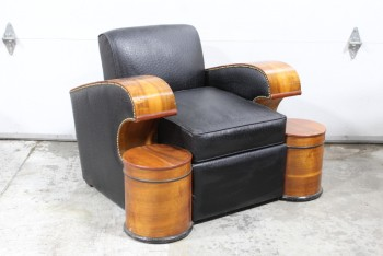 Chair, Armchair, ART DECO STYLE, CURVED WOOD ARMS W/TACK TRIM, ATTACHED ROUND TABLE/WOOD COLUMN PEDESTALS, LEATHER, BLACK