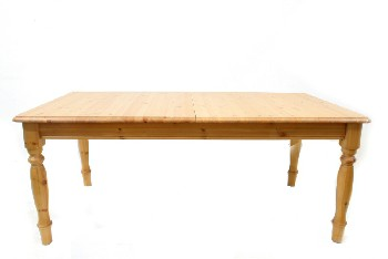 Table, Dining, PINE,ROUNDED BEVELED EDGES,TURNED LEGS, 18