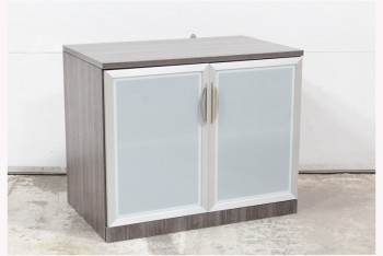 Cabinet, Office, GREY WOOD GRAIN LAMINATE W/2 FROSTED GLASS DOORS, CONTEMPORARY, WOOD, GREY