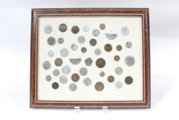 Wall Dec, Collection, CLEARABLE, COIN COLLECTION, INCLUDES REAL OLD COINS & HALF COINS, BROWN WOOD FRAME, METAL, BROWN
