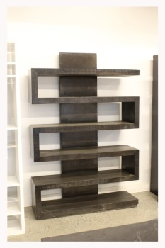 Shelf, Wood, MODERN, 4 LEVELS OF SHELVES IN 'S' SHAPE, WOOD, BROWN