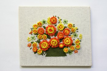 Wall Dec, Stitched, CLEARABLE,ORANGE/YELLOW FLOWERS IN GREEN BASKET, NO FRAME, EMBROIDERY, MULTI-COLORED