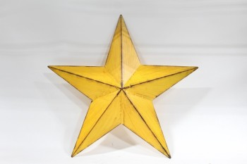 Wall Dec, Shapes , WALLMOUNT 5-POINTED STAR, VINTAGE RUSTIC LOOK , METAL, YELLOW