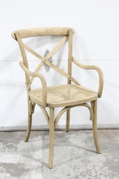 "Chair, Armchair, BENTWOOD,""X"" BACK W/CANED SEAT, W/ARMS, WOOD, BROWN"