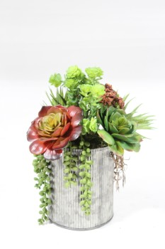 Plant, Fake, SMALL FAKE MIXED SUCCULENT ARRANGEMENT IN CORRUGATED METAL PLANTER, PLASTIC, GREEN