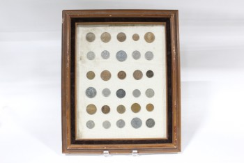 Wall Dec, Collection, CLEARABLE, COIN COLLECTION, ROWS, INCLUDES REAL OLD COINS, BROWN WOOD FRAME, METAL, BROWN