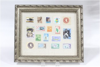Wall Dec, Collection, CLEARABLE, FRAMED STAMP COLLECTION, INCLUDES 17 REAL OLD POSTAGE STAMPS, PATTERNED METALLIC COLOURED FRAME, MULTI-COLORED