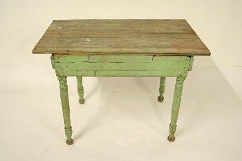 Table, Kitchen, SLAT TOP,TURNED LEGS, WOOD, GREEN