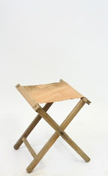 Stool, Folding, CANVAS SEAT, CAMPING/OUTDOOR,AGED - Not Identical To Photo , WOOD, BROWN