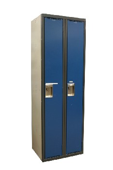 Locker, Misc, DOUBLE DOORS,GREY FRAME,BEIGE SIDES, METAL, BLUE
