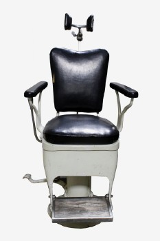 Chair, Medical, ANTIQUE DENTIST/MEDICAL/SALON/BARBER/TATTOO CHAIR,BLACK ARM RESTS & METAL FOOT REST, ROUND BOLT DOWN BASE, TURNS,FOOT PEDALS, REMOVABLE PADDED HEAD REST, METAL, WHITE