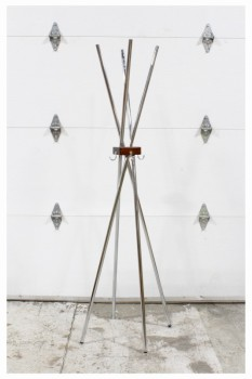 Coat Rack, Leg Base, TWISTED CHROME RODS ANCHORED BY WOOD BLOCK W/3 HOOKS , CHROME, SILVER