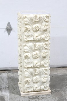 Lighting, Misc, HEAVY FREESTANDING FLORAL RELIEF COLUMN LIGHT, OPEN ENDS, SEPARATE BASE & PLEXI COVER, WORKS (JULY 2019), WHITE