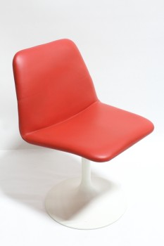 "Chair, Side, MODERN,VINTAGE,CURVED SEAT W/SOLID RED COVER, SINGLE LEG TULIP STYLE,SWIVELS, 16"" ROUND BASE, LEATHER, RED"