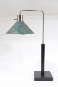 Lighting, Lamp, TABLE,CONTEMPORARY TABLE LAMP W/ANGLED ARM W/GREEN VINTAGE INDUSTRIAL SHADE , WOOD, BLACK