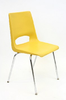 Chair, Stackable, MOLDED SEAT W/CHROME LEGS, ARMLESS , PLASTIC, YELLOW