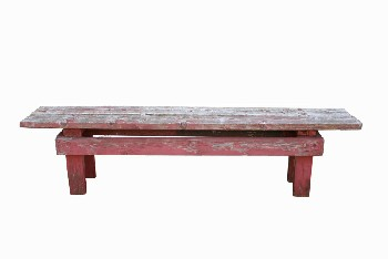 Bench, Rustic, PLAIN,PEELING PAINT,RUSTIC, WOOD, RED