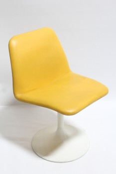 "Chair, Side, MODERN,VINTAGE,CURVED SEAT W/SOLID YELLOW COVER, SINGLE LEG TULIP STYLE,SWIVELS, 16"" ROUND BASE, LEATHER, YELLOW"