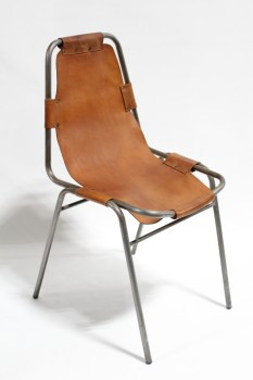 "Chair, Stackable, BROWN LEATHER SEAT, RIVETED STRAPS HOLD SEAT TO TUBULAR METAL FRAME, IN THE STYLE OF ""LES ARCS"" BY CHARLOTTE PERRIAND, LEATHER, BROWN"