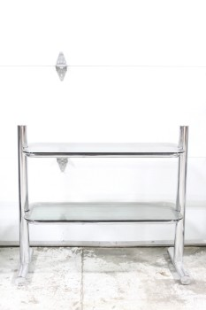 Shelf, Glass, 2 LEVELS W/SMOKED GLASS ROUNDED SHELVES (*GLASS IS NOT ATTACHED*), REFLECTIVE TUBULAR CHROME FRAME, CHROME, SILVER