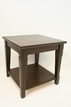 Table, Side, SQUARE W/TAPERED LEGS, WOOD, BROWN