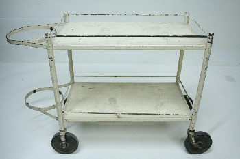 Cart, Cleaning, 2 LEVELS,2 METAL HOOPS ON END,ROLLING, METAL, WHITE