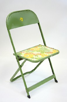 Chair, Folding, CHILD'S,VINTAGE FLORAL PRINT SEAT , METAL, GREEN