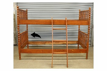 Bed, Bunkbed, SINGLE SIZE BUNK W/TURNED POSTS, HEADBOARD &  FOOTBOARD - *Photo Shows 2 Beds Stacked Into 60x78.5x42