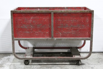 Cart, Metal, VINTAGE,INDUSTRIAL,POST OFFICE/MAIL CART,CURVED LOWER LEGS W/CROSS BARS, PERFORATED SIDES, ROLLING, AGED , METAL, RED