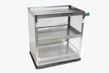 Cart, Metal, CLEAR PLEXI DOORS FRONT & BACK,TRANSLUCENT ENDS,1 HANDLE W/BLUE PLASTIC ENDS, SHELF, ROLLING , STAINLESS STEEL, SILVER