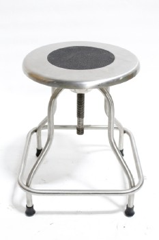 Stool, Stainless, MEDICAL,ROUND SEAT W/TEXTURED RUBBER CENTRE, SQUARED LOWER RUNG, BLACK FEET , STAINLESS STEEL, SILVER