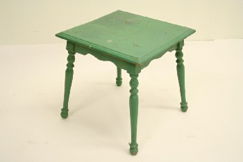 Table, Side, TURNED LEGS, WOOD, GREEN