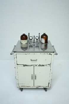 Table, Bedside, 1 DRAWER & 2 DOORS,STAINLESS TOP W/ GAUGES & DRESSED JARS , METAL, WHITE