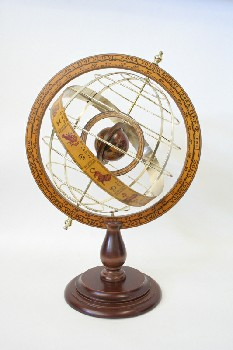 Globe, Tabletop, ARMILLARY SPHERES/GLOBE,RINGS ON WOOD BASE W/ASTROLOGICAL SYMBOLS , METAL, BRASS
