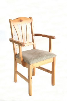 Chair, Dining, PINE,3 SLAT BACK W/ARMS,NEUTRAL CLOTH SEAT, WOOD, NATURAL