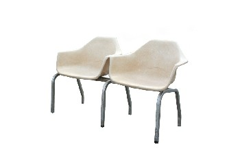 Bench, Seats, 2 MOLDED SHELL SEATS,GREY METAL FRAME , FIBERGLASS, BEIGE